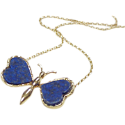 Lapis Lazuli 18k Gold Butterfly Necklace, European c. 1950's
