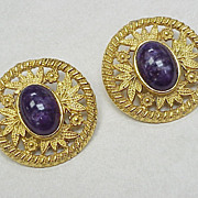 Les Bernard Large Gold Tone Clip Earrings