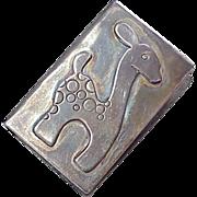 Vintage Sterling Silver Match Box Cover ~ Giraffe