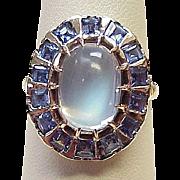 Vintage Ring Moonstone & Ceylon Sapphire 14k Gold Circa 1940's