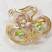 Art Nouveau Watch or Locket Pin 14k Gold Shaded Enameling
