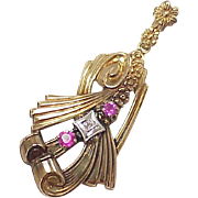 Retro Pendant Ruby & Diamond 10k Gold, Two Tone
