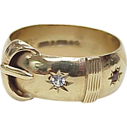 Victorian Revival Garter / Buckle Ring 9K Gold, English