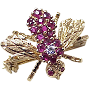Vintage Rosenthal Bee Pin 18K Gold Ruby & Diamond