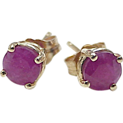 RUBY Solitaire 1.30 ctw Stud Earrings 14k Gold