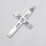 Antique Cross Pendant Mine Cut Diamonds Sterling Silver