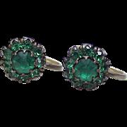 Vintage Screw Back Earrings Sterling Silver & Faux Emerald