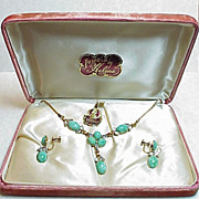 Peking Glass 12K GF Necklace & Earring SET in Original Box 1950's