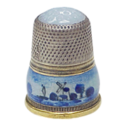 SOLD Glass Top Thimble Guilloche Enamel & Sterling Silver