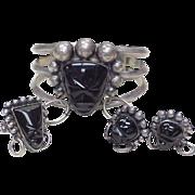 REDUCED Vintage Tribal Mask SET Bracelet Ring & Earrings Sterling Silver & Onyx