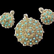 REDUCED Vintage Persian Turquoise Set Pendant & Earrings 14k Gold
