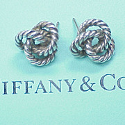 Rare Retired Tiffany & Co Twist Circle Earrings Sterling Silver