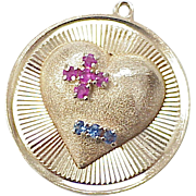 LARGE Romantic Charm 1950's 14k Gold Jeweled Heart