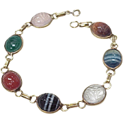 Vintage Scarab Beetle Bracelet 14k Gold, Multiple Gemstone