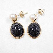 Dangle Earrings Onyx Scarab & Cultured Pearl 14k Gold