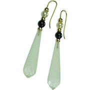 REDUCED Rock Crystal Briolette Drop Earrings 14k Gold Onyx & Pearl Accent