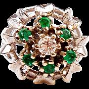 SOLD Vintage 1950's Emerald & Diamond Flower Ring 14K White Gold