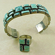 SOLD Sterling Silver Mexico Tibetan Turquoise Bracelet & Ring Set