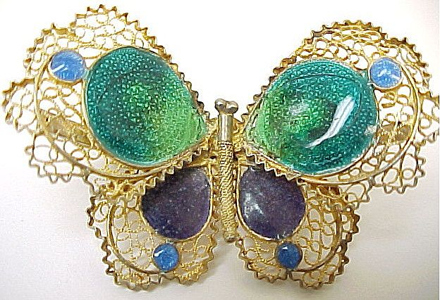Beautiful Delicate 800 Silver Vermeil Filigree & Enameled Butterfly Pin