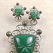 REDUCED Estate Vintage Mexico Carved Tribal Mask Chrysoprase Large Brooch And Matching Screw O