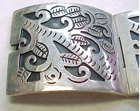Vintage WIDE Sterling Silver Bracelet Etched ORGANIC Tree Motif