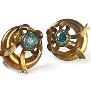 RETRO Blue Spinel Screw-back Earrings 10k Gold BOW Design