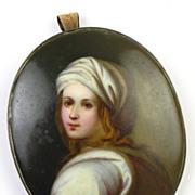 Victorian Pendant / Brooch Miniature Portrait 8k Gold Porcelain
