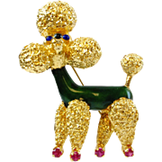 Vintage Enameled & Ruby 3D Poodle 18k Gold Pin