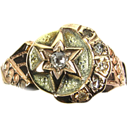 Antique Star & Moon w/ Diamond Accents 10k Gold Ring