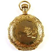 14k Gold Scalloped Ladies Elgin Pocket Watch