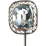SALE 1.50 ct Aquamarine Stunning Art Deco 10k Filigree Stick Pin