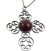 Synthetic Carnelian Cross Pendant Necklace 950 Silver Circa 1950's
