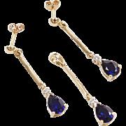 Vintage 10k Gold 2.26 ctw Sapphire and Diamond Set ~ Earrings & Pendant
