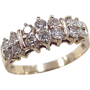 Vintage 14k Gold 1.20 ctw Double Row Diamond Ring