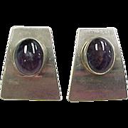 Sterling Silver Large Amethyst Stud Earrings