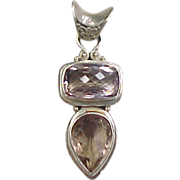 Sterling Silver Amethyst and Quartz Pendant