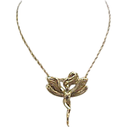 Vintage 14k Gold Art Nouveau Style Fairy Necklace