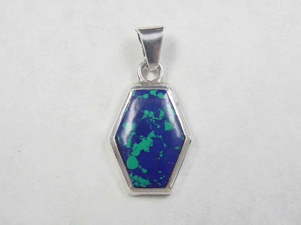 Vintage Sterling Silver Azurite Malachite Pendant From