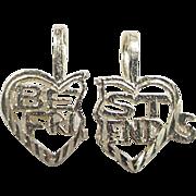 Vintage 14k Gold BEST FRIENDS Break Apart Heart Charm