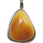 Sterling Silver Baltic Egg Yolk Amber Pendant