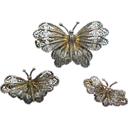 Vintage 800 Silver Filigree Butterfly Scatter Pins / Brooch, Set