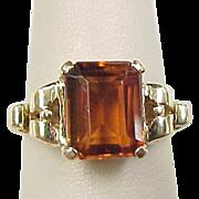 Vintage 14k Gold Madeira Citrine Ring