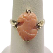 Edwardian 10k Gold Coral Cameo Ring