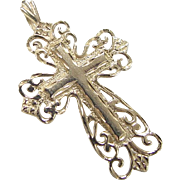 Vintage 14k Gold Ornate Cross Pendant