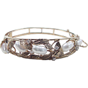 Vintage 14k Gold Diamond and Cultured Pearl Hinged Bangle Bracelet ~ Leaf Design