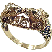 Greece Highly Detailed 18k Gold Enameled Ram Head Ring