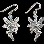 Sterling Silver Fairy Dangle Earrings