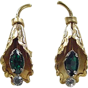 Vintage Gold Vermeil Earrings ~ Green and White Glass