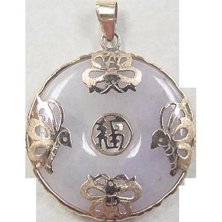 Vintage 14k Gold Lavender Jade Pendant From Arnoldjewelers
