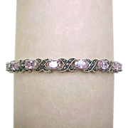 Vintage Sterling Silver Hug and Kiss Marcasite and Pink Ice Bracelet